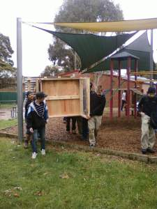 local TAFE lads deliver the chook house ready for installation