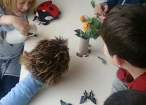 Creating their own 'energy flow through ecosystems' puppet show