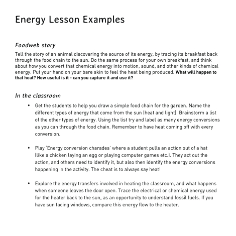 energy lesson examples
