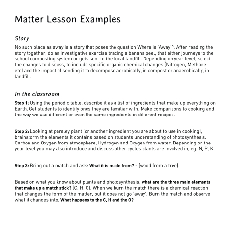 matter lesson examples