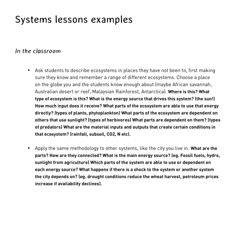 systems lesson examples